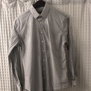 Express White And Grey Stripped Button Down